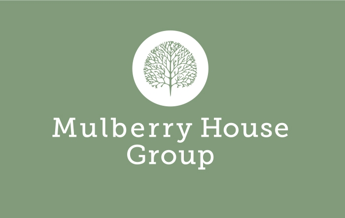 Mulberry House Group of Mulberry Tree in grey on white disc.