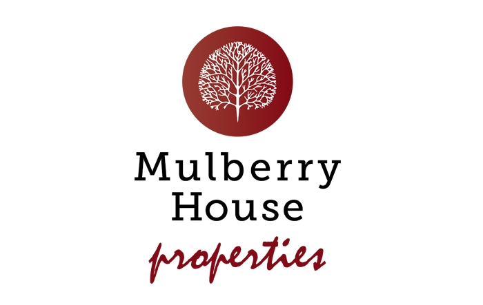 Mulberry House Properties Logo of Mulberry Tree inside dark red disc